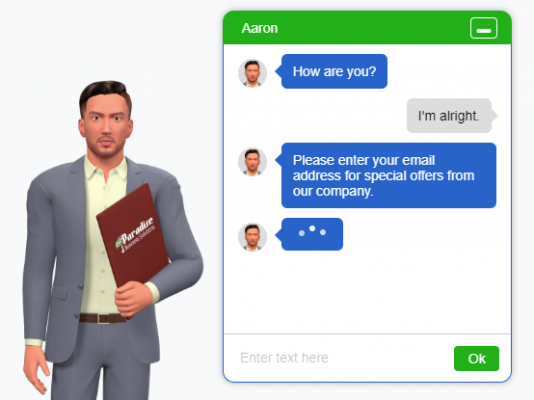 Paradise small business management support with 3D chat agents